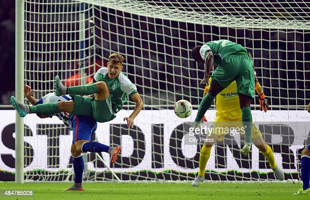 Anthony Ujah of Werder Bremen heads the ball during the game between Hertha BSC and Werder Bremen on August 21 2015 in Berlin Germany