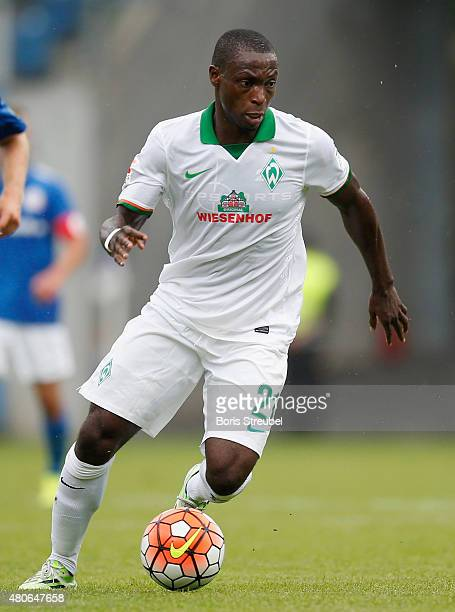 Anthony Ujah of Werder Bremen runs with the ball during the friendly match between Hansa Rostock and SV Werder Bremen at DKBArena on July 7 2015 in...