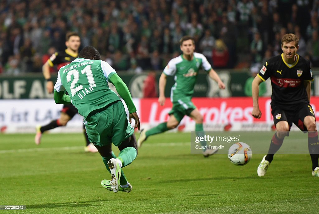 Anthony Ujah of Werder Bremen scores their sixth goal during the Bundesliga match between Werder Bremen and VfB Stuttgart at Weserstadion on May 2, 2016 in Bremen, Germany.