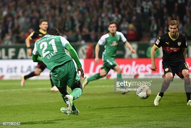Anthony Ujah of Werder Bremen scores their sixth goal during the Bundesliga match between Werder Bremen and VfB Stuttgart at Weserstadion on May 2...