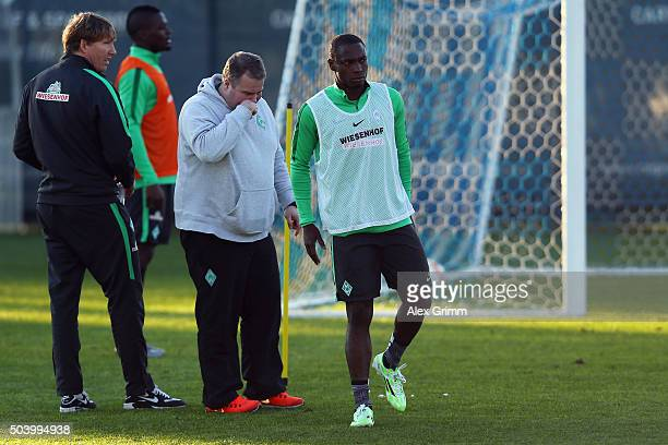Anthony Ujah reacts after being injured during a Werder Bremen training session on day 3 of the Bundesliga Belek training camps at Regnum Sports...