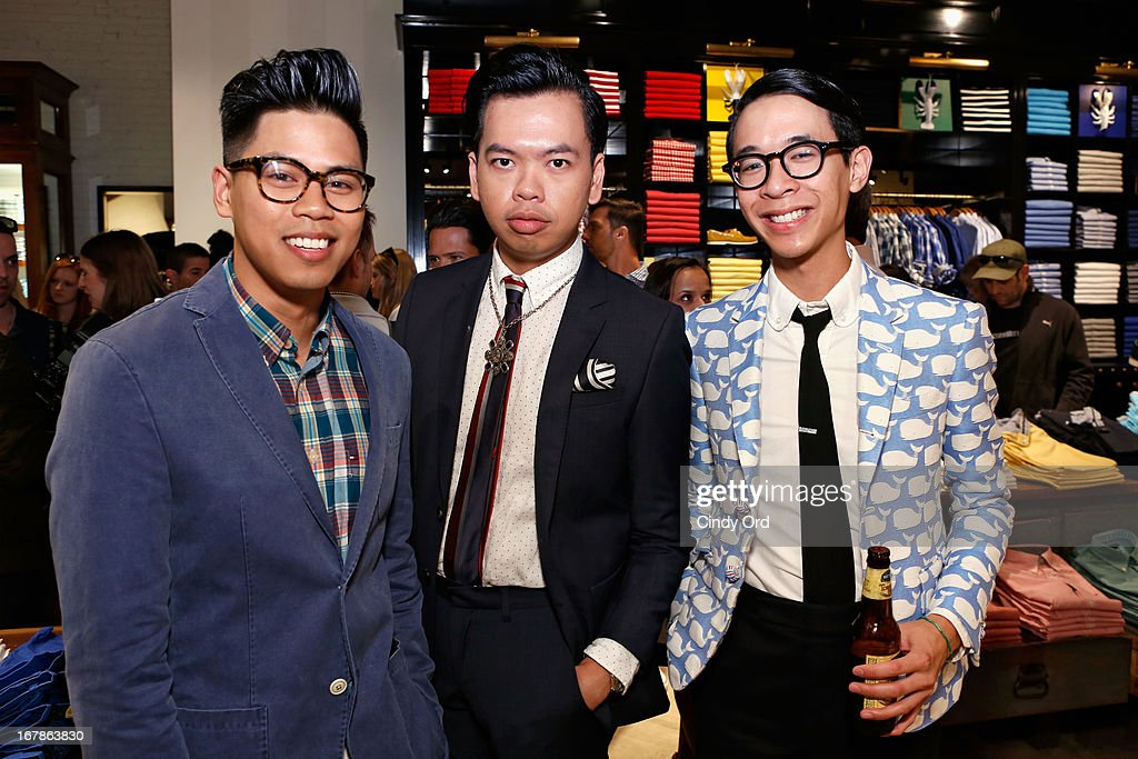 Anthony Urbano, Izzy Tuason and guest attend Tommy Hilfiger celebrates redesigned Soho store with event for Fresh Air Fund on May 1, 2013 in New York City.