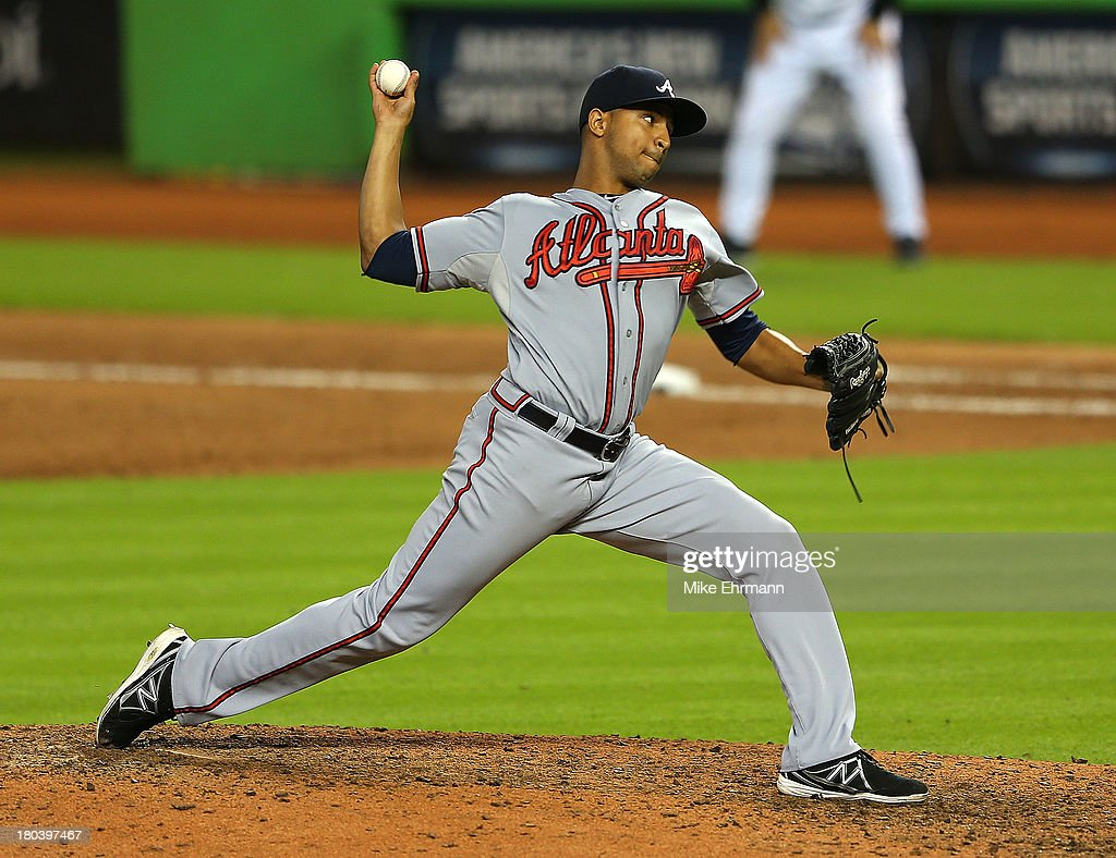 <a gi-track='captionPersonalityLinkClicked' href=/galleries/search?phrase=Anthony+Varvaro&family=editorial&specificpeople=6778043 ng-click='$event.stopPropagation()'>Anthony Varvaro</a> #38 of the Atlanta Braves pitches during a game against the Miami Marlins at Marlins Park on September 12, 2013 in Miami, Florida.