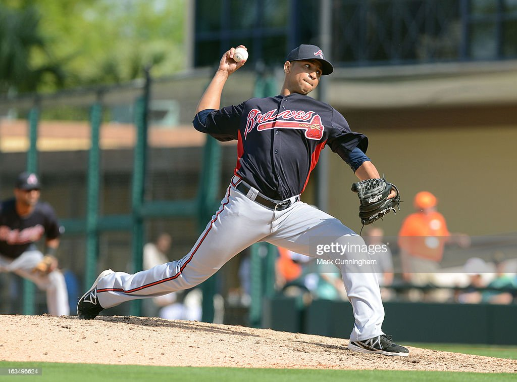 <a gi-track='captionPersonalityLinkClicked' href=/galleries/search?phrase=Anthony+Varvaro&family=editorial&specificpeople=6778043 ng-click='$event.stopPropagation()'>Anthony Varvaro</a>#38 of the Atlanta Braves pitches during the spring training game against the Detroit Tigers at Joker Marchant Stadium on February 27, 2013 in Lakeland, Florida. The Braves defeated the Tigers 5-3.
