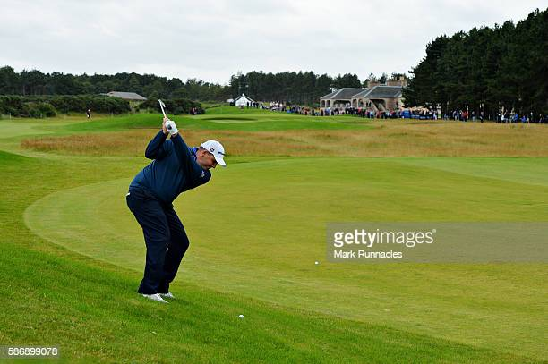 Anthony Wall of England taking his second shot on hole 18 on day four of the Aberdeen Asset Management Paul Lawrie Matchplay at Archerfield Links...