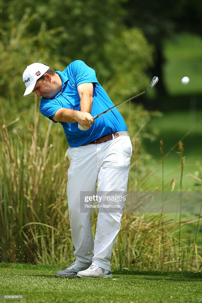 Anthony Wall of England tee's off at the 16th of the east course during the second round of the Joburg Open at Royal Johannesburg and Kensington Golf Club on January 15, 2016 in Johannesburg, South Africa.