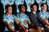 Anthony Watmough Michael Jennings Blues coach Ricky Stuart and Paul Gallen pose during a New South Wales Blues state of origin team photo session at...