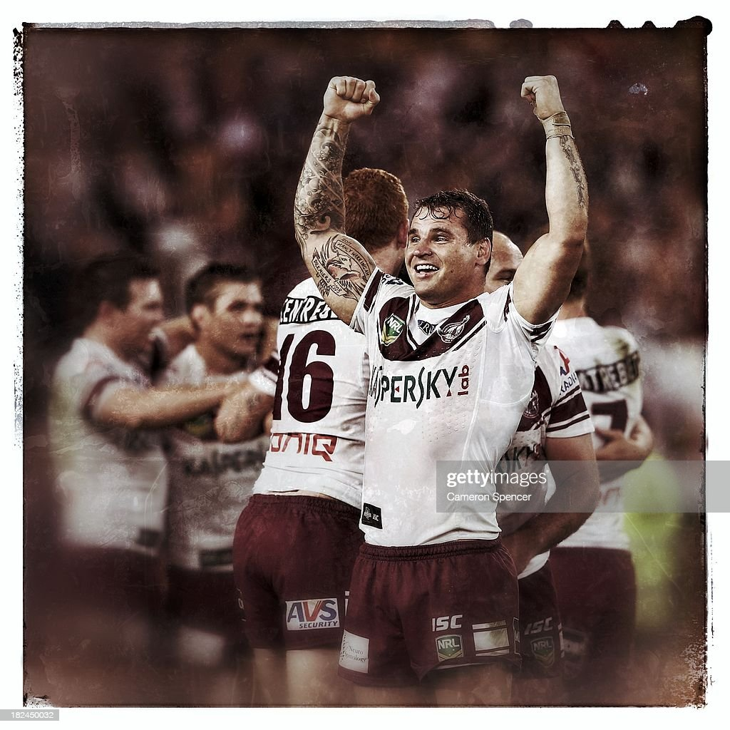 <a gi-track='captionPersonalityLinkClicked' href=/galleries/search?phrase=Anthony+Watmough&family=editorial&specificpeople=213919 ng-click='$event.stopPropagation()'>Anthony Watmough</a> of the Sea Eagles celebrates after winning the NRL Preliminary Final match between the South Sydney Rabbitohs and the Manly Warringah Sea Eagles at ANZ Stadium on September 27, 2013 in Sydney, Australia.