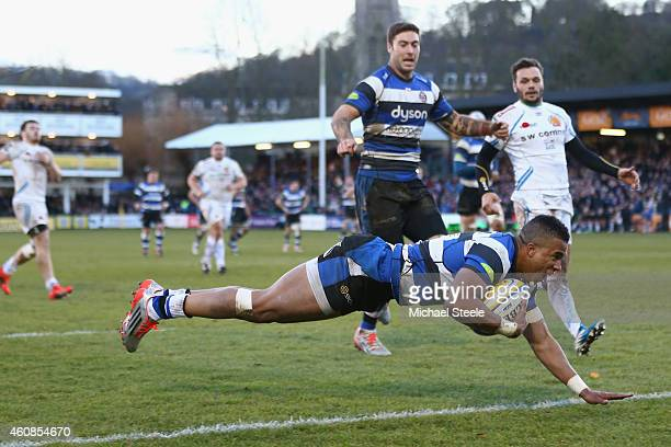 Anthony Watson of Bath dives over to score his sides fourth try during the Aviva Premiership match between Bath Rugby and Exeter Chiefs at the...