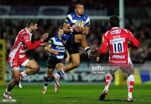 Anthony Watson of Bath takes on James Hook of Gloucester during the Aviva Premiership match between Gloucester Rugby and Bath Rugby at Kingsholm...