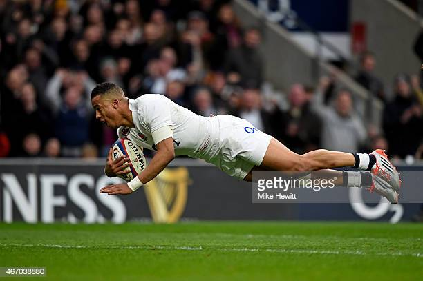 Anthony Watson of England dives over to score a try that is later disallowed during the RBS Six Nations match between England and Scotland at...