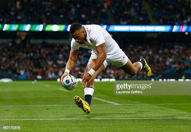 Anthony Watson of England scores his second try and England's fourth during the 2015 Rugby World Cup Pool A match between England and Uruguay at...
