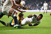Anthony Watson of England scores his teams first try during the 2015 Rugby World Cup Pool A match between England and Australia at Twickenham Stadium...