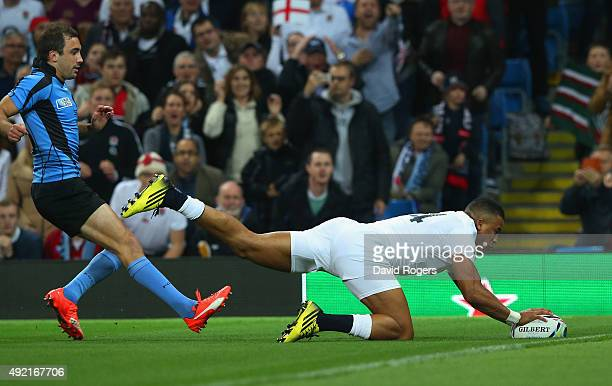 Anthony Watson of England scores the first try during the 2015 Rugby World Cup Pool A match between England and Uruguay at Manchester City Stadium on...
