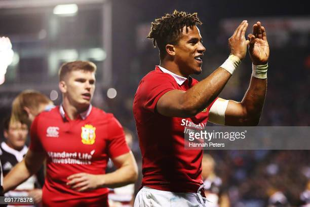 Anthony Watson of the Lions celebrates after scoring a try during the match between the New Zealand Provincial Barbarians and British Irish Lions at...