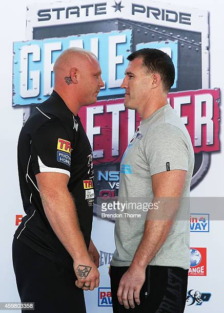 Anthony Watts and Paul Gallen face off during the weigh in ahead of their fight tomorrow night at Hordern Pavilion on December 2 2014 in Sydney...