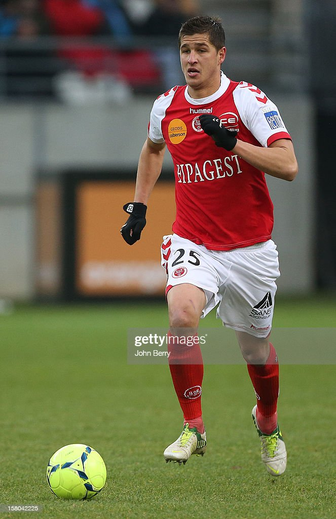 Anthony Weber of Reims in action during the French Ligue 1 match between Stade de Reims and Girondins de Bordeaux at the Stade Auguste Delaune on December 9, 2012 in Reims, France.