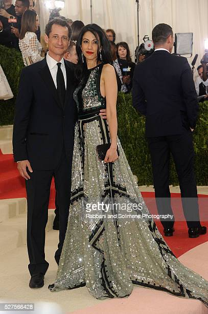 Anthony Weiner and Huma Abedin attends 'Manus x Machina Fashion In An Age Of Technology' Costume Institute Gala at