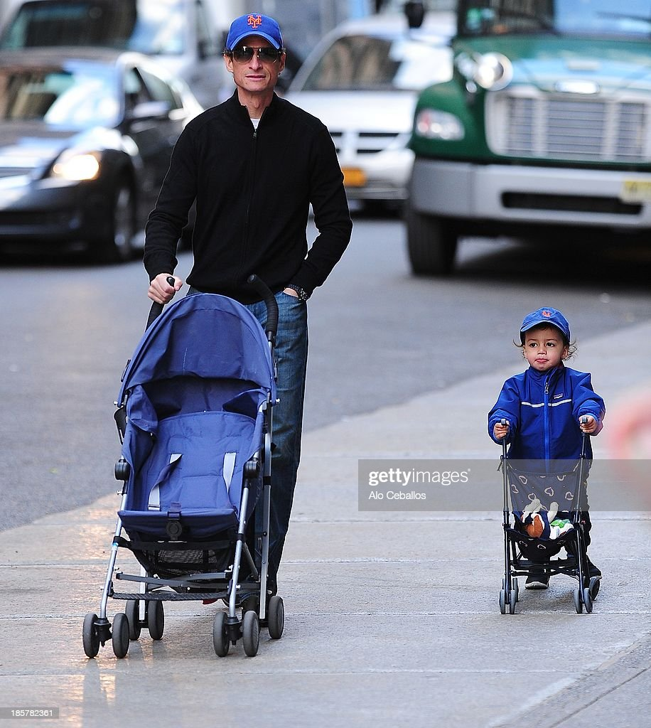 <a gi-track='captionPersonalityLinkClicked' href=/galleries/search?phrase=Anthony+Weiner&family=editorial&specificpeople=821661 ng-click='$event.stopPropagation()'>Anthony Weiner</a> and Jordan Zain Weiner are seen in Soho on October 24, 2013 in New York City.