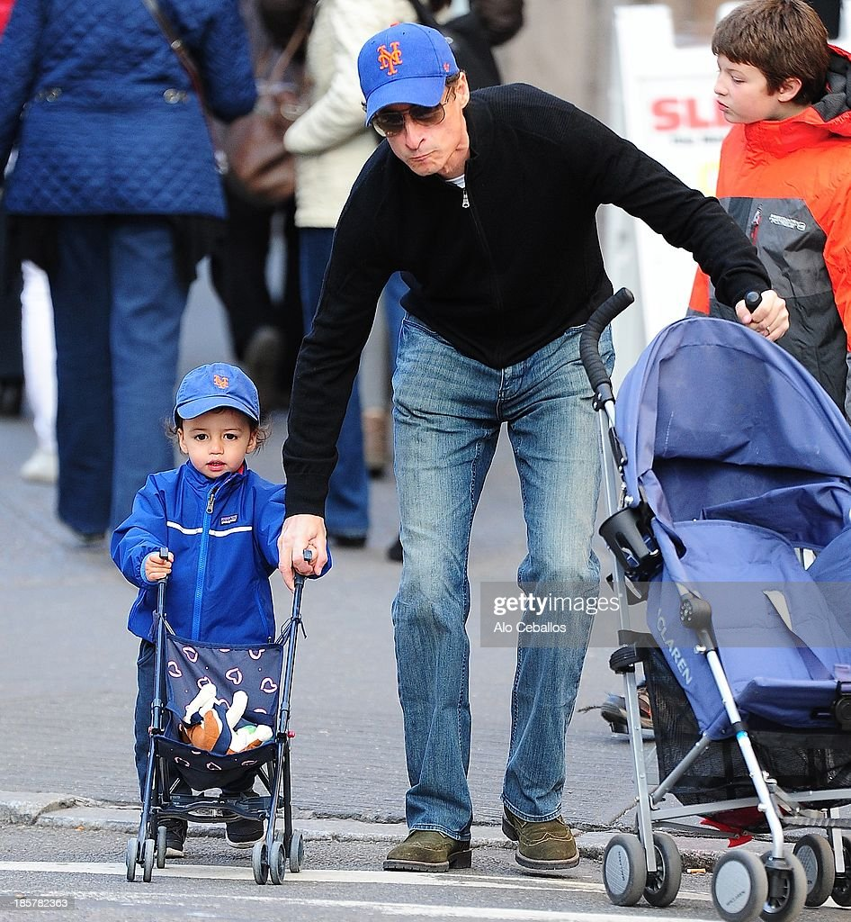 <a gi-track='captionPersonalityLinkClicked' href=/galleries/search?phrase=Anthony+Weiner&family=editorial&specificpeople=821661 ng-click='$event.stopPropagation()'>Anthony Weiner</a> (R) and Jordan Zain Weiner are seen in Soho on October 24, 2013 in New York City.