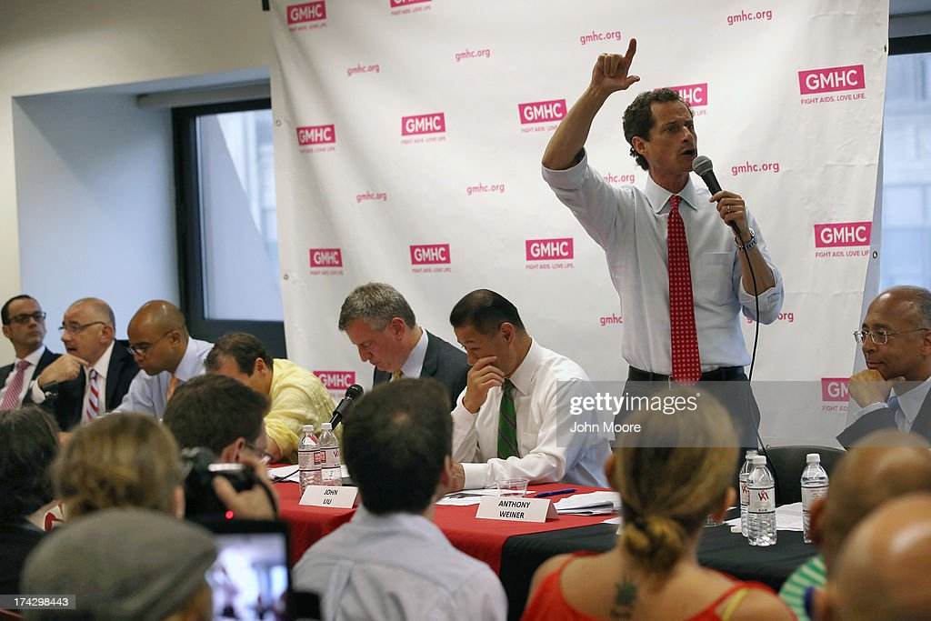 Anthony Weiner participates with fellow New York City mayoral candidates in the Gay Men's Health Crisis Mayoral Forum on HIV/AIDS on July 23, 2013 in New York City. At a press conference beforehand Weiner addressed news of new allegations that he engaged in lewd online conversations with a woman after he resigned from Congress for similar previous incidents.