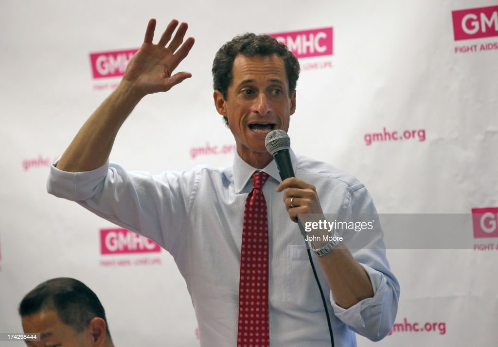 <a gi-track='captionPersonalityLinkClicked' href=/galleries/search?phrase=Anthony+Weiner&family=editorial&specificpeople=821661 ng-click='$event.stopPropagation()'>Anthony Weiner</a> participates with fellow New York City mayoral candidates in the Gay Men's Health Crisis Mayoral Forum on HIV/AIDS on July 23, 2013 in New York City. At a press conference beforehand Weiner addressed news of new allegations that he engaged in lewd online conversations with a woman after he resigned from Congress for similar previous incidents.