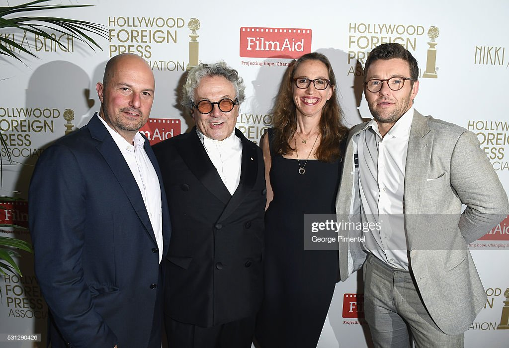 Anthony Weintraub, George Miller, Caroline Baron and Joel Edgerton attend The Hollywood Foreign Press Association Honour Filmaid International party during The 69th Annual Cannes Film Festival on May 13, 2016 in Cannes, France.