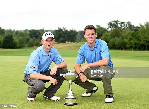 Anthony Williams and Tom Davies of Celtic Manor Resort Ltd pose for photos after winning the Lombard Trophy Midland Regional Qualifier at Lambourne...