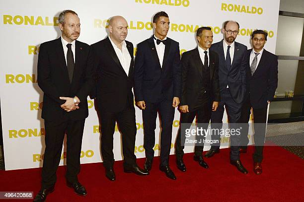 Anthony Wonke Paul Martin Cristiano Ronaldo Jorge Mendes James GayRees and Asif Kapadia attend the World Premiere of 'Ronaldo' at Vue West End on...