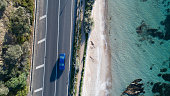 Aerial photograph of car driving captured at Anthony's Nose, Dromana, Victoria