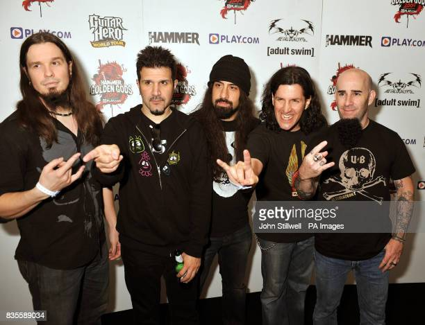 Anthrax arrive at the Indigo concert venue for the Metal Hammer Golden Gods awards at the O2 Arena in Greenwich south East London