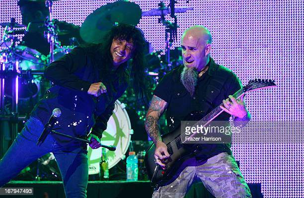 Anthrax Joey Belladonna and Scott Ian perform at the 5th Annual Revolver Golden Gods Award Show at Club Nokia on May 2 2013 in Los Angeles California