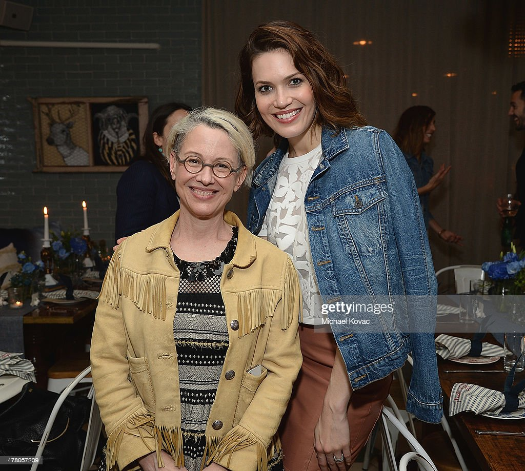 Anthropologie Chief Marketing Officer Susy Korb (L) and actress Mandy Moore attend Anthropologie Celebrates A Denim Story by Emily Current, Meritt Elliott and Hilary Walsh at PaliHotel on March 11, 2014 in Los Angeles, California.