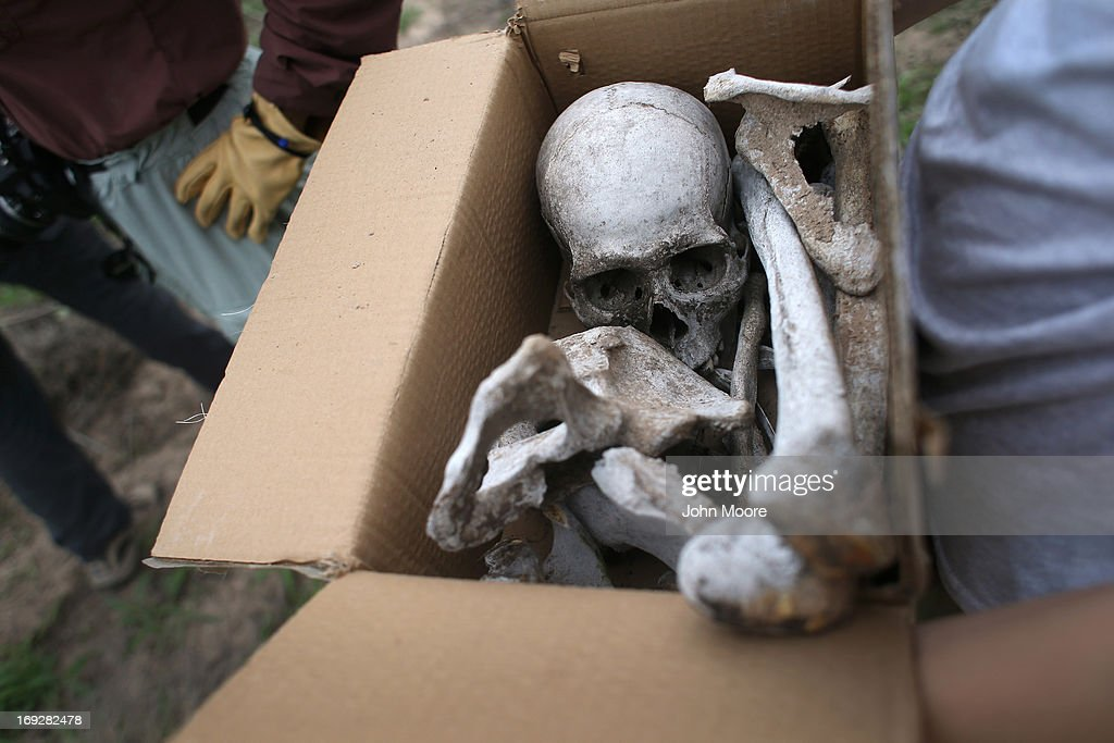 Anthropology students collect bones from a suspected undocumented immigrant scattered on a ranch and found by the U.S. Border Patrol on May 22, 2013 in Falfurrias, Brooks County, Texas. In Brooks County alone, at least 129 immigrants perished in 2012, most of dehydration while making the long crossing from Mexico. Teams from Baylor University and the University of Indianapolis are exhuming the bodies of more than 50 immigrants who died, mostly from heat exhaustion, while crossing illegally from Mexico into the United States. The bodies will be examined and cross checked with DNA sent from Mexico and Central American countries, with the goal of reuniting the remains with families.