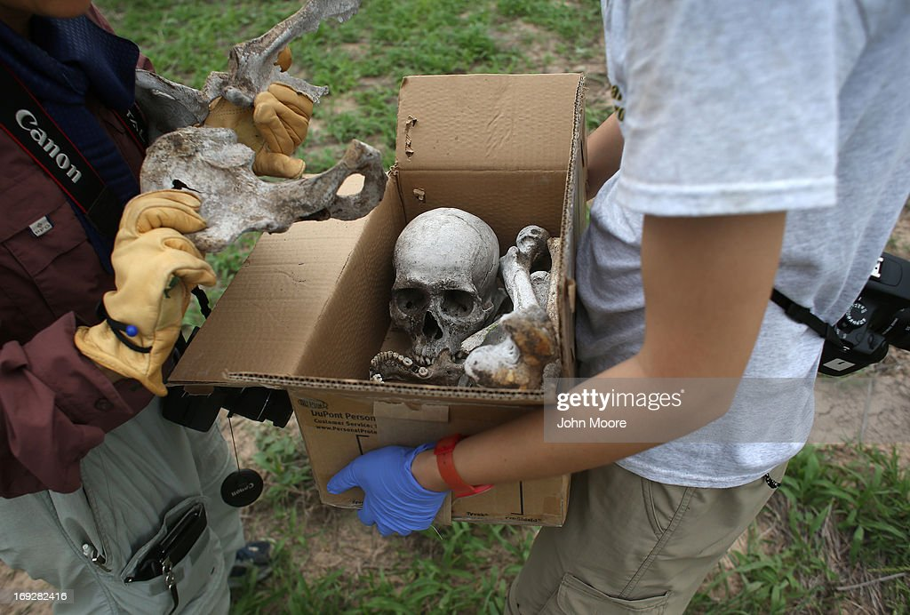 Anthropology students collect human bones of a suspected undocumented immigrant scattered on a ranch and found by the U.S. Border Patrol on May 22, 2013 in Falfurrias, Brooks County, Texas. In Brooks County alone, at least 129 immigrants perished in 2012, most of dehydration while making the long crossing from Mexico. Teams from Baylor University and the University of Indianapolis are exhuming the bodies of more than 50 immigrants who died, mostly from heat exhaustion, while crossing illegally from Mexico into the United States. The bodies will be examined and cross checked with DNA sent from Mexico and Central American countries, with the goal of reuniting the remains with families.