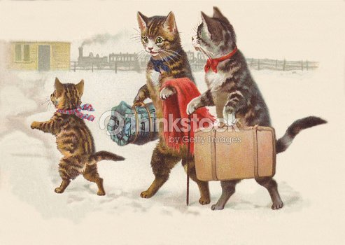 Anthropomorphic Cat Family Going On Vacation By Train Stock Photo