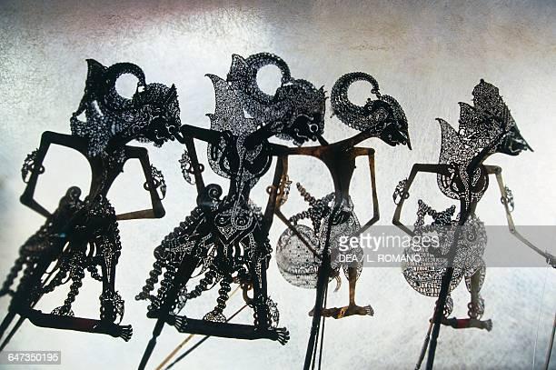 Anthropomorphic figures Wayang Kulit Java Indonesia