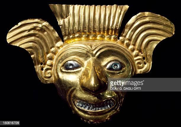 Anthropomorphic gold mask originating from La Tolita PreColombian Civilization 5th Century BC5th Century AD