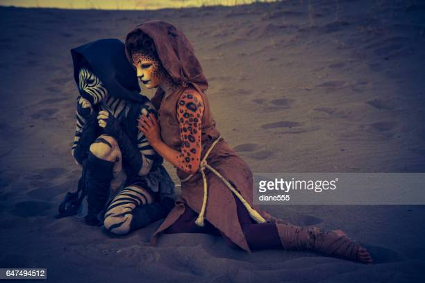 Anthropomorphic Lion and Cheetah Actors In The Desert