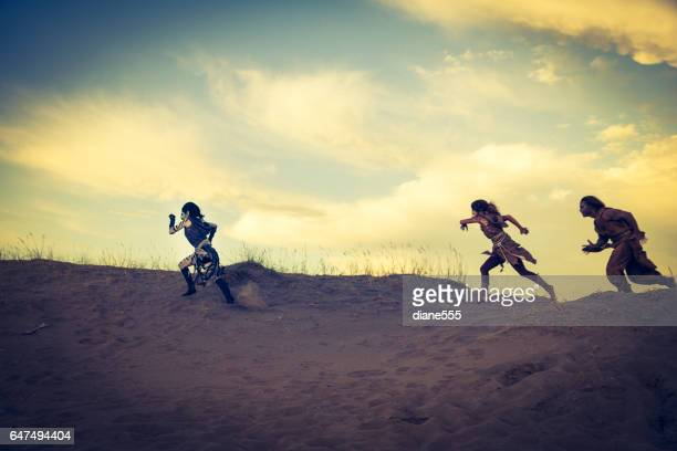 Anthropomorphic Lion, Zebra and Cheetah Actors In The Desert