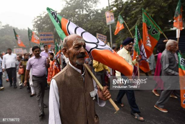 Anti Black Money Day observed by Bhartiya Janata Party leaders activists and workers as they march from Ashoka Road to Connaught Place in support of...