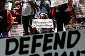 Anti China protestors mount a protest rally against China's territorial claims in the Spratlys group of islands in the South China Sea in front of...