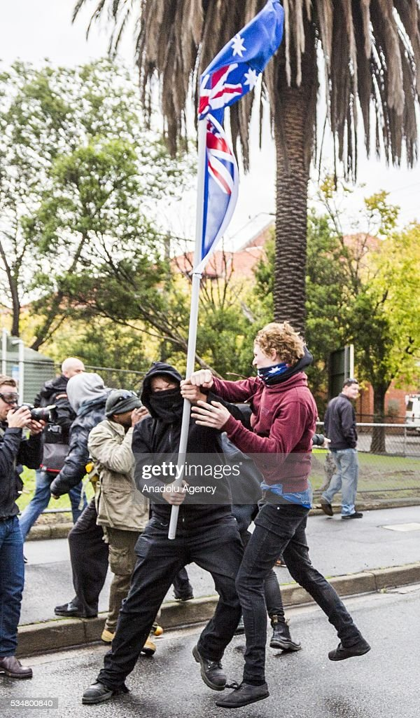 Anti Fascists and True Blue Crew clash during a 'Say No To Racism' protest and a counter 'Stop the Far Left' rally in Coburg Melbourne, Australia on May 28, 2016. Seven men were arrested after a violent brawl erupted between rival protesters at an anti-racism rally in Melbourne's inner-north. Anti-Facists clashed with Anti-Islam nationalists who go by the name 'True Blue Crew'.