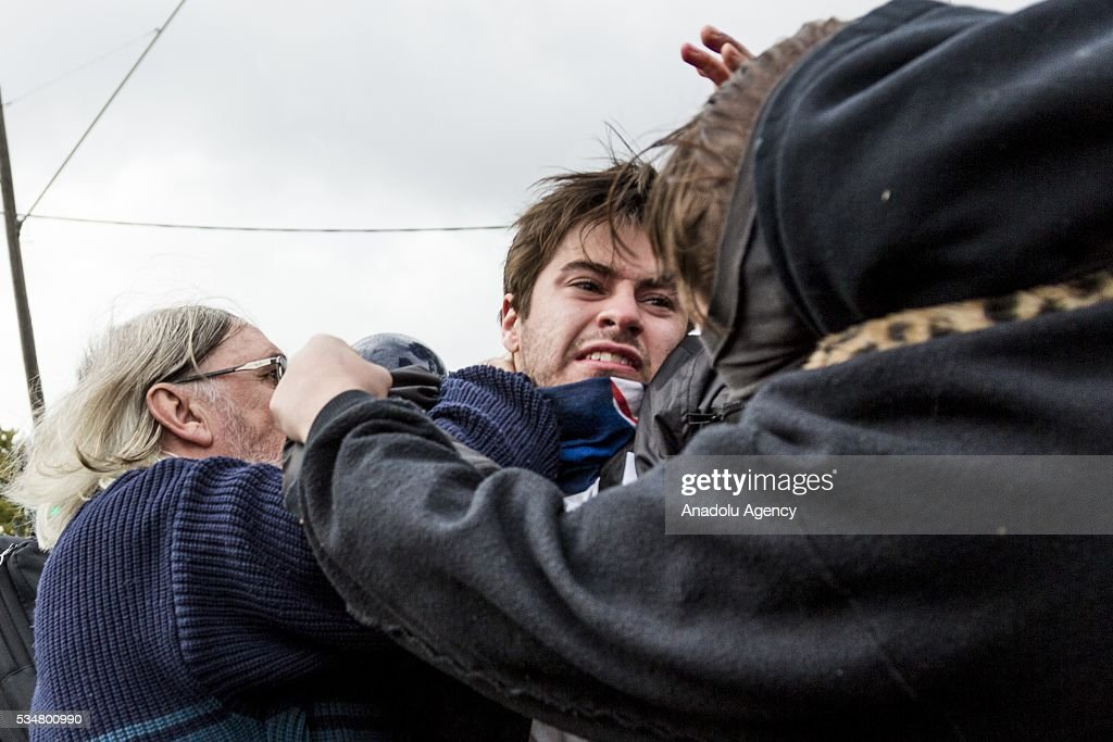 Anti Fascists and True Blue Crew members clash during a 'Say No To Racism' protest and a counter 'Stop the Far Left' rally in Coburg Melbourne, Australia on May 28, 2016. Seven men were arrested after a violent brawl erupted between rival protesters at an anti-racism rally in Melbourne's inner-north. Anti-Facists clashed with Anti-Islam nationalists who go by the name 'True Blue Crew'.