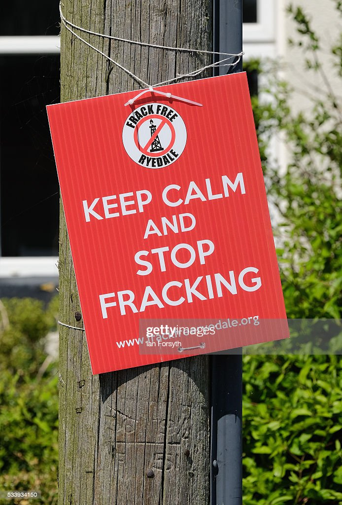 Anti fracking placards and signs are displayed in the village of Kirby Misperton on May 24 2016 in Malton England North Yorkshire Planning and...
