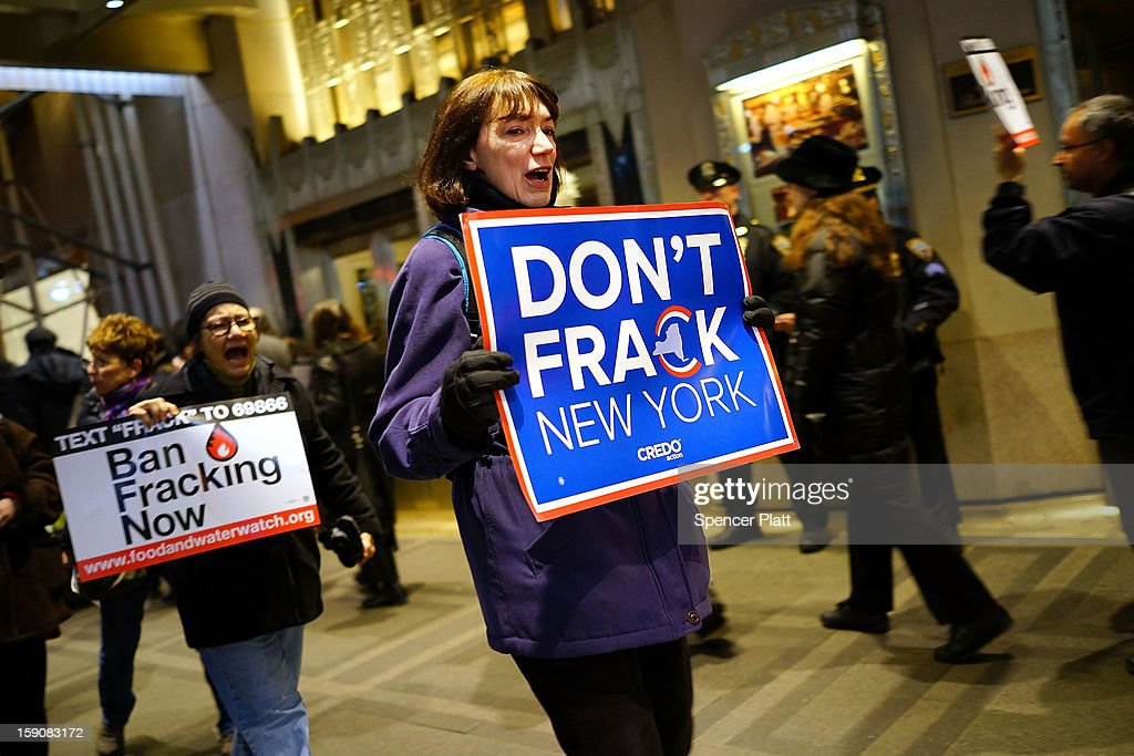 Anti Fracking protesters demonstrate in front of the Waldorf Astoria as New York Gov Andrew Cuomo visits the hotel for a function on January 7 2013...