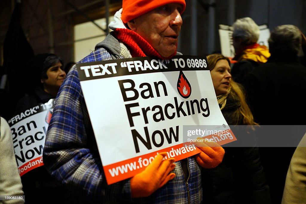 Anti Fracking protesters demonstrate in front of the Waldorf Astoria as New York Gov. Andrew Cuomo visits the hotel for a function on January 7, 2013 in New York City. Fracking, a process that injects millions of gallons of chemical mixed water into a well in order to release gas, has become a contentious issue in New York as critics of the process believe it contaminates drinking water among other hazards. New York City gets much of its drinking water from upstate reservoirs. If the regulations are approved by Governor Cuomo, drilling in the upstate New York Marcellus Shale could later this year.