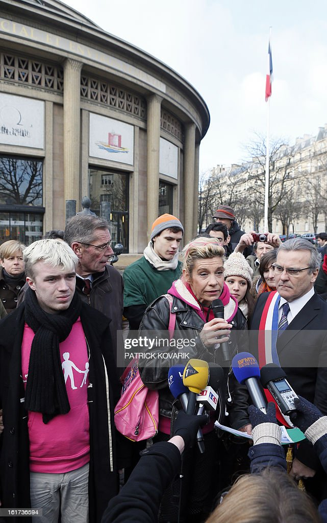 Anti gay marriage activists (From L) Xavier Bongibault, from the association 'Plus gay sans mariage,' humorist Frigide Barjot, and Le Chesnay's mayor Philippe Brillault, address reporters as they leave French Economic and Social Council where they handed over a petition against the National Assembly endorsed controversial bill to legalise same-sex marriage and adoption, on February 15, 2013 in Paris. The bill, comfortably adopted five days ago by the primary chamber, still has to go to the Senate for examination and approval, but the upper house is unlikely to prevent the groundbreaking reform from becoming law by the summer.