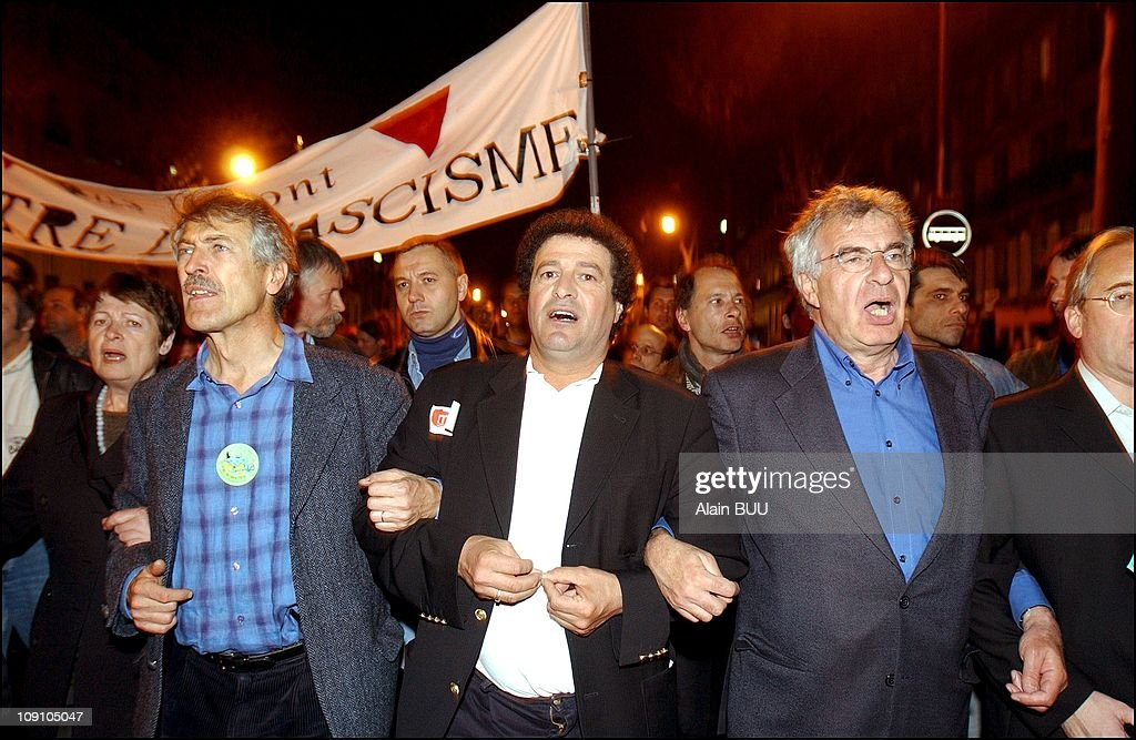 Anti Le Pen Demonstration In Paris After After The Results Of The First Round Of The Presidential Elections On April 21Th, 2002 In Paris, France. Alain Lipietz (Green Party), X And Alain Krivine