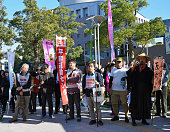 Anti nuclear protesters gather as the Kagoshima prefectural assembly approves the resumption of the Sendai nuclear power plant on November 7 2014 in...